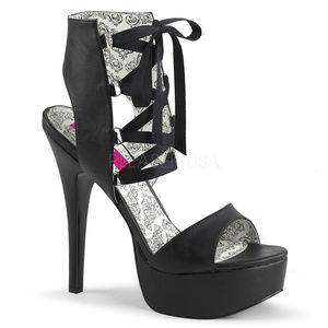 Shoes - Wide Width Platform Lace Up Peep High Heel Shoes